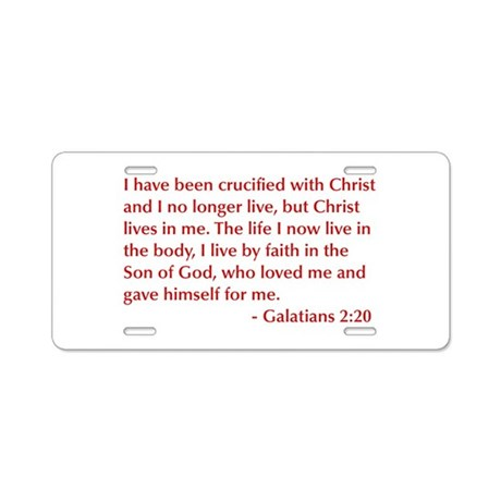 Galatians--2-20-opt-burg Aluminum License Plate