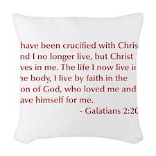 Galatians--2-20-opt-burg Woven Throw Pillow
