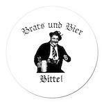 Brats und Bier Round Car Magnet