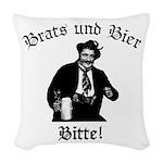 Brats und Bier Woven Throw Pillow