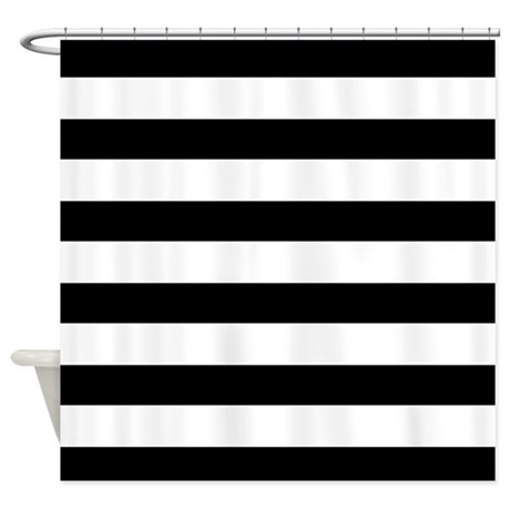 Black and white bold stripes shower curtain by hhtrendyhome Bold black and white striped curtains