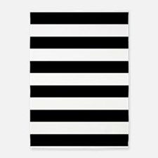 Black and White Bold Stripes 5'x7'Area Rug