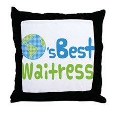 Worlds Best Waitress Throw Pillow