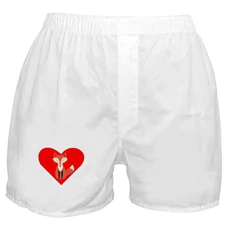 Cartoon Fox Heart Boxer Shorts