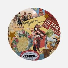 Vintage Western cowgirl collage Ornament (Round)