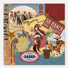 Vintage Western cowgirl collage Square Car Magnet