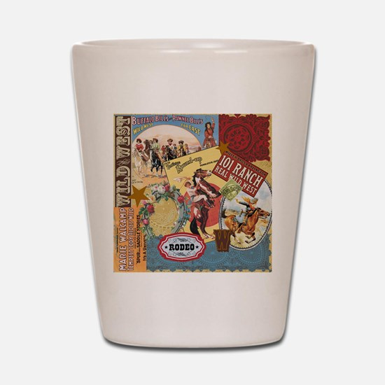 Vintage Western cowgirl collage Shot Glass