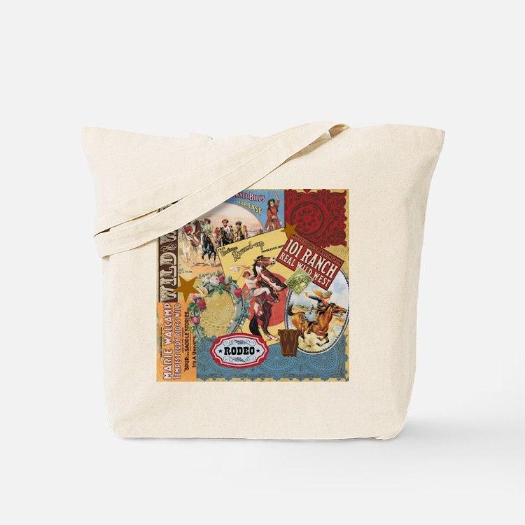 Vintage Western cowgirl collage Tote Bag