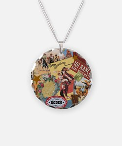 Vintage Western cowgirl collage Necklace