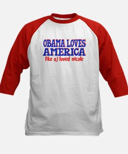 Obama Loves America Kids Baseball Jersey