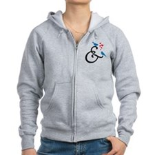&, ampersand sign with birds and hearts Zip Hoodie