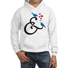&, ampersand sign with birds and hearts Hoodie