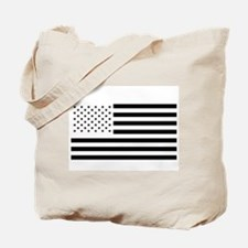 Black and White American Flag Tote Bag