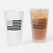 Black and White American Flag Drinking Glass