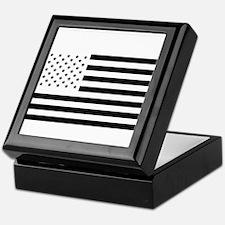 Black and White American Flag Keepsake Box