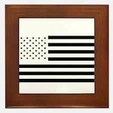 Black and White American Flag Framed Tile