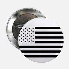 """Black and White American Flag 2.25"""" Button"""