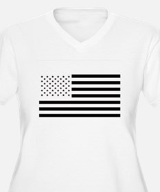 Black and White American Flag Plus Size T-Shirt