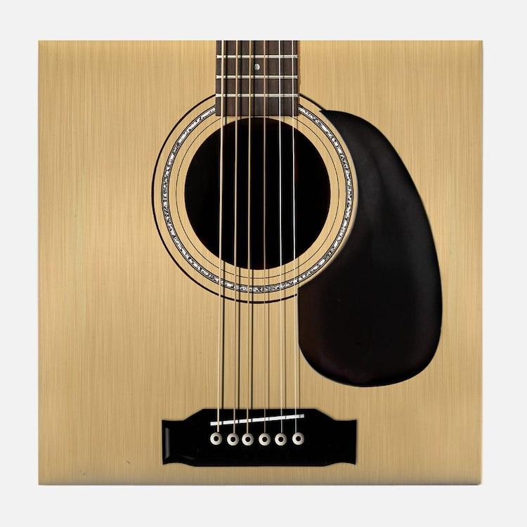 Acoustic Guitar Square Tile Coaster