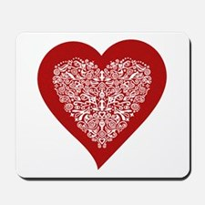 Red sparkling heart with detailed white ornament M