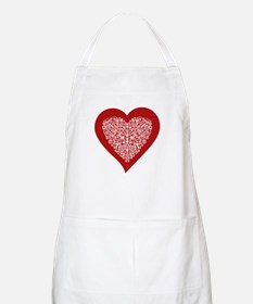Red sparkling heart with detailed white ornament A
