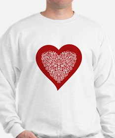 Red sparkling heart with detailed white ornament J