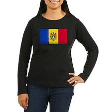 Moldovan Blank Flag Womens Long Sleeve Brown Shirt