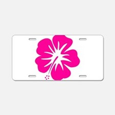 Hot Pink Hibiscus Aluminum License Plate