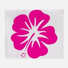 Hot Pink Hibiscus Throw Blanket