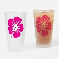 Hot Pink Hibiscus Drinking Glass
