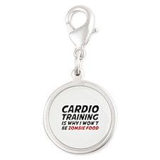 Cardio Training Zombie Food Silver Round Charm