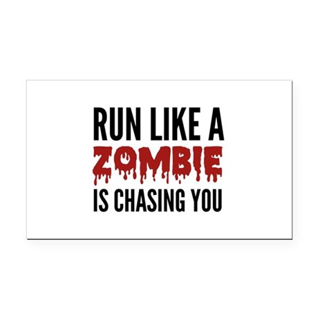 Run like a zombie is chasing you Rectangle Car Mag