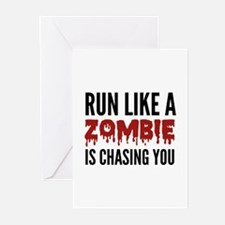 Run like a zombie is chasing you Greeting Cards (P