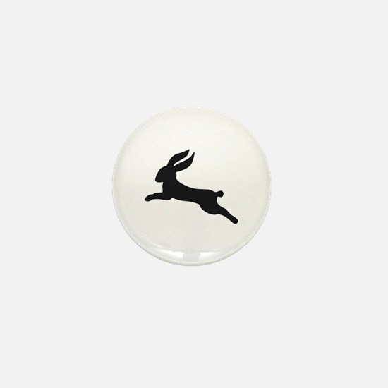 Black bunny rabbit Mini Button