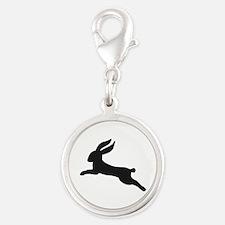 Black bunny rabbit Silver Round Charm
