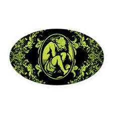 Weeping Cherub Green Oval Car Magnet