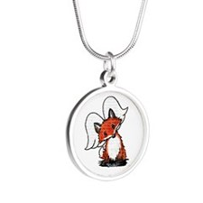 KiniArt Winged Fox Silver Round Necklace