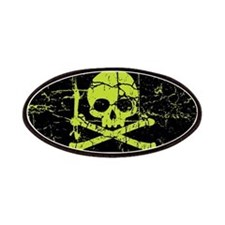 Worn Green Skull And Crossbones Patches