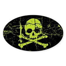Worn Green Skull And Crossbones Decal