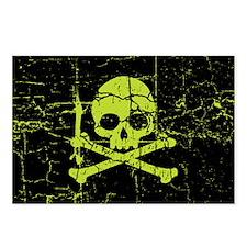 Worn Green Skull And Crossbones Postcards (Package