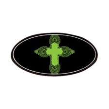 Ornate Green Gothic Cross Patches