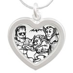 Funny Monsters Silver Heart Necklace