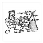 "Funny Monsters Square Car Magnet 3"" x 3"""