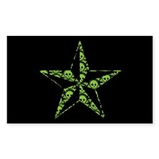 Green Skull Pattern Star Decal