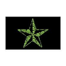 Green Skull Pattern Star Rectangle Car Magnet