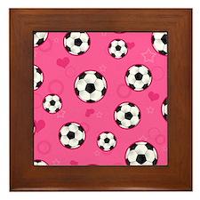 Cute Soccer Ball Print - Pink Framed Tile