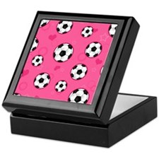 Cute Soccer Ball Print - Pink Keepsake Box