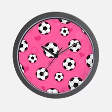 Cute Soccer Ball Print - Pink Wall Clock