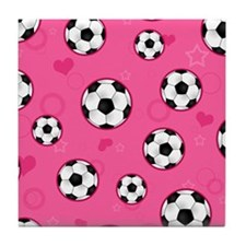 Cute Soccer Ball Print - Pink Tile Coaster