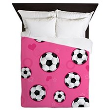 Cute Soccer Ball Print - Pink Queen Duvet